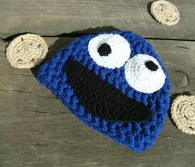 Cookie Monster Infant Hat or American Girl-type doll hat (size 0-3 months or 3-6 months)