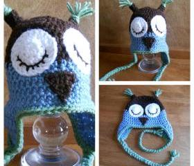 Owl Hat (Size Child, or Adult) - many color combinations available