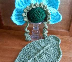 Flower & Leaf Infant Portrait Set or American Girl-type doll costume (size 0-3 months or 3-6 months)