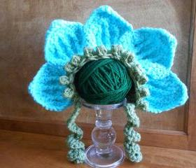 Infant Flower Bonnet or American Girl-type doll bonnet (size 0-3 months, 3-6 months, 6-12 months, or Toddler)